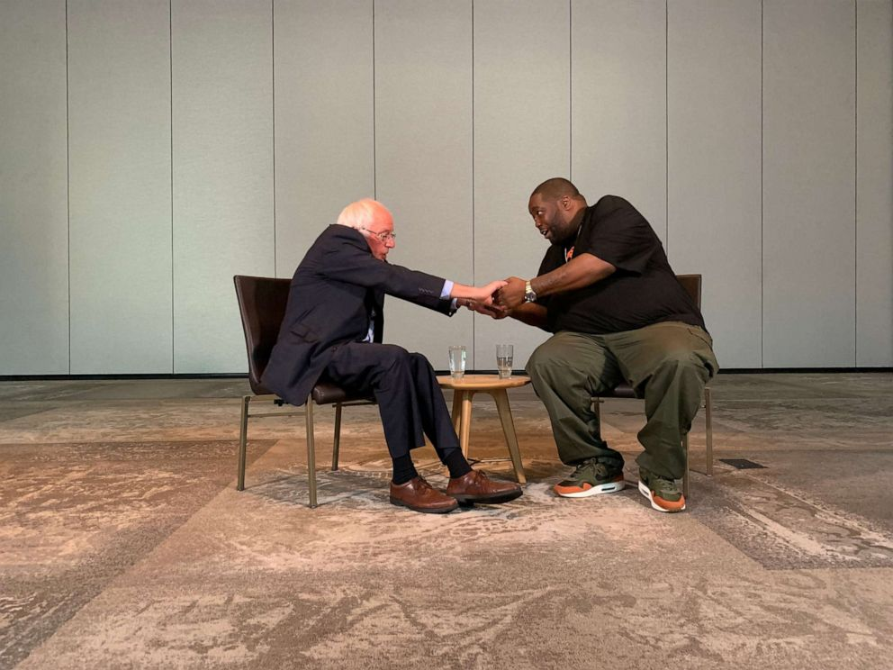 PHOTO: Sen. Bernie Sanders, I-Vt., and rapper Michael Killer Mike Render met at the Renaissance Marriott in Atlanta on Saturday, Aug. 17, 2019, to discuss campaign issues.