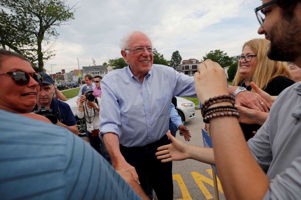 PHOTO: Democratic 2020 presidential candidate Senator Bernie Sanders (I-VT) greets supporters before marching in the Nashua Pride Parade in Nashua, N.H., June 29, 2019.