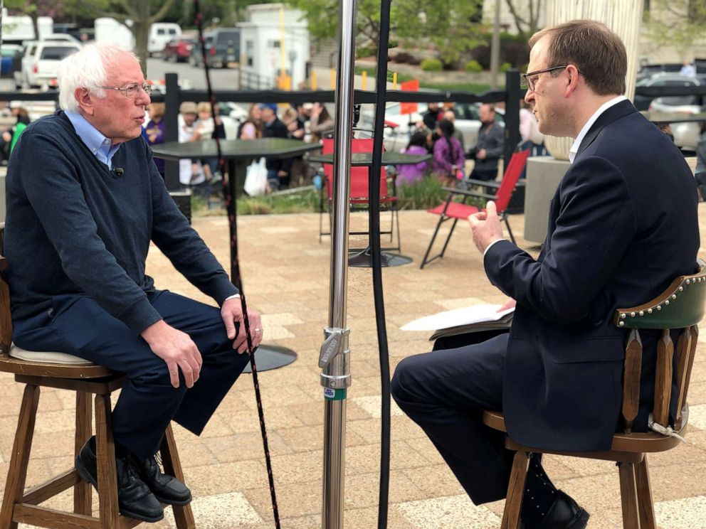 PHOTO: 2020 presidential candidate Sen. Bernie Sanders sits for an exclusive interview with ABC News Chief White House Correspondent Jonathan Karl for This Week.