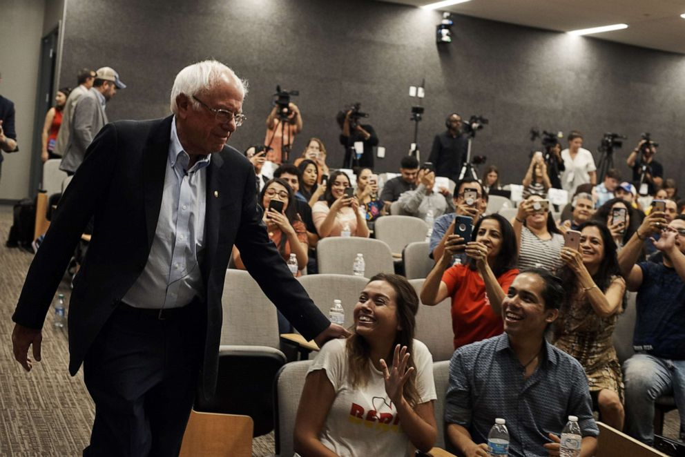 PHOTO: Sen. Bernie Sanders (I-Vt.), a candidate for the Democratic nomination for president, arrives for a town hall event in Las Vegas, Sept. 14, 2019.