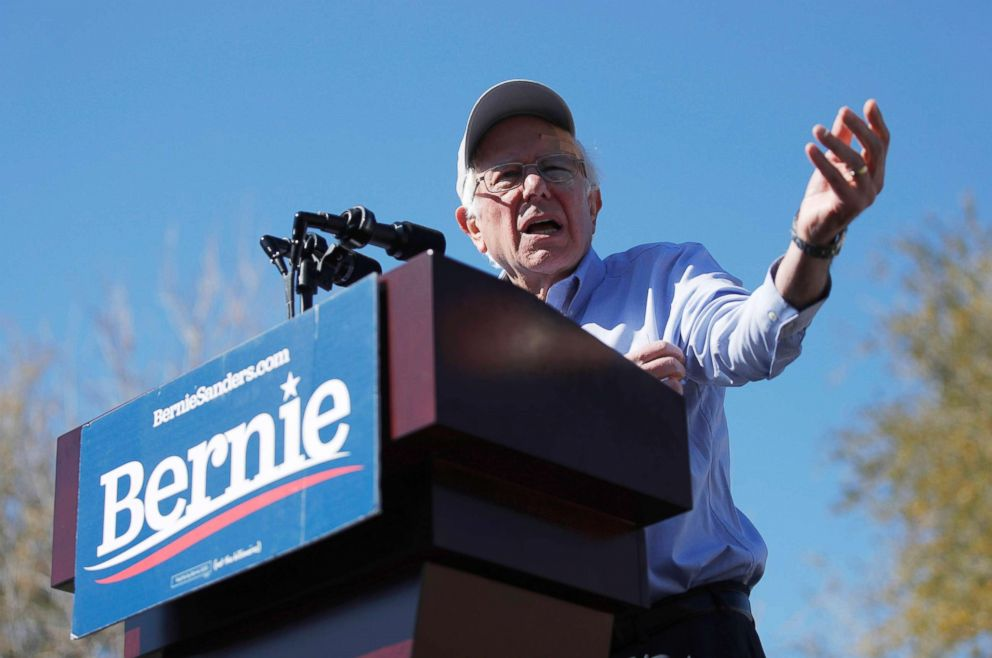 PHOTO: 2020 Democratic presidential candidate Sen. Bernie Sanders speaks at a rally, March 16, 2019, in Henderson, Nev.
