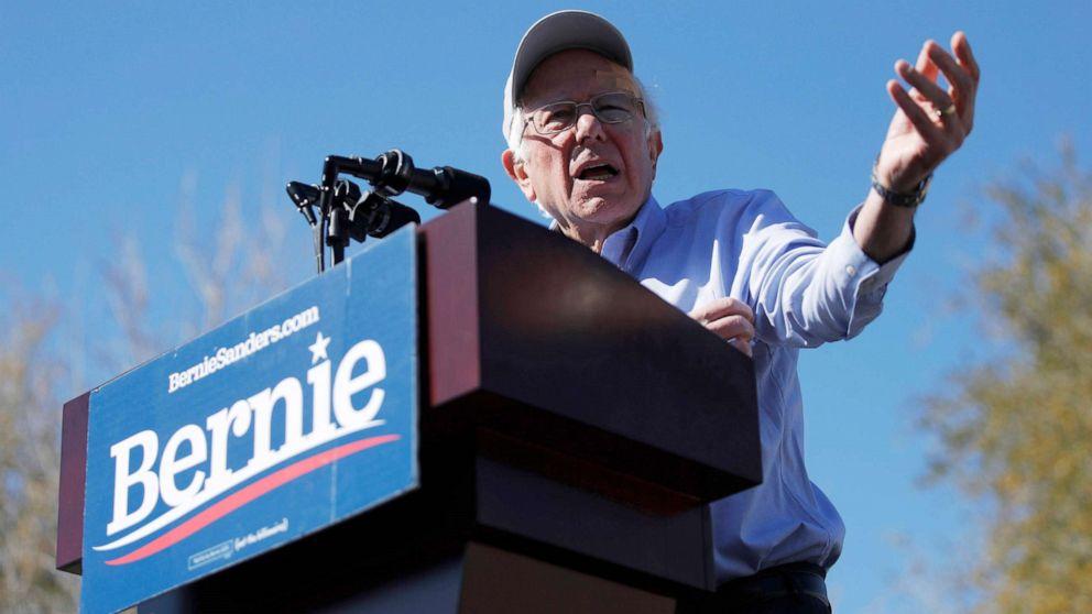 Sen. Bernie Sanders speaks at a rally in Henderson, Nev.,  March 16, 2019.