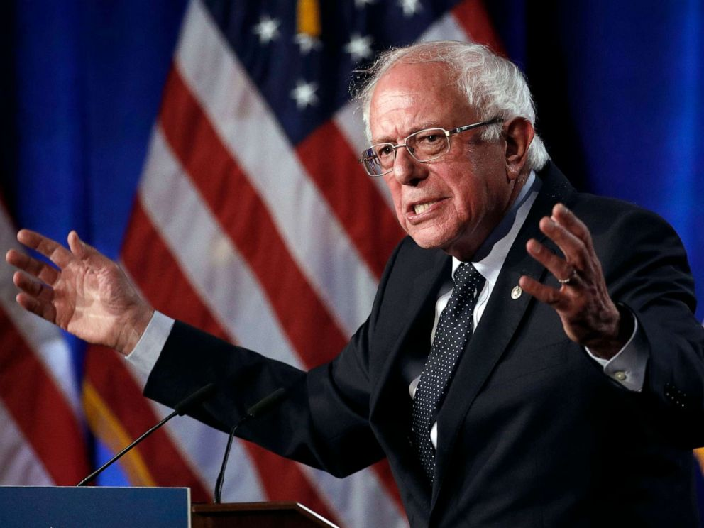 PHOTO: In this July 17, 2019, file photo, Democratic presidential candidate, Sen. Bernie Sanders speaks about his Medicare for All proposal at George Washington University in Washington.