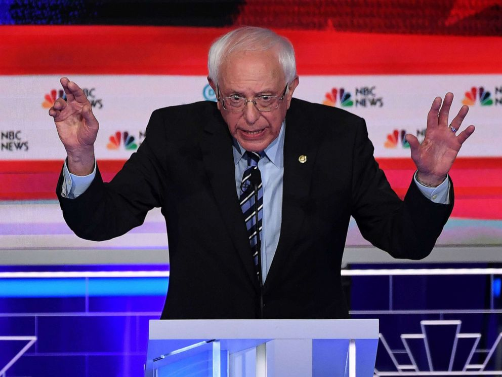 PHOTO: Bernie Sanders participates in the second night of the first 2020 democratic presidential debate at the Adrienne Arsht Center for the Performing Arts in Miami, June 27, 2019.