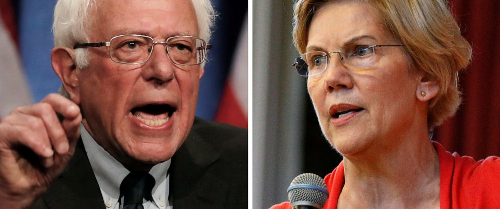 PHOTO: Democratic 2020 U.S. presidential candidates Sen. Bernie Sanders and Sen. Elizabeth Warren speak at campaign events in 2019.