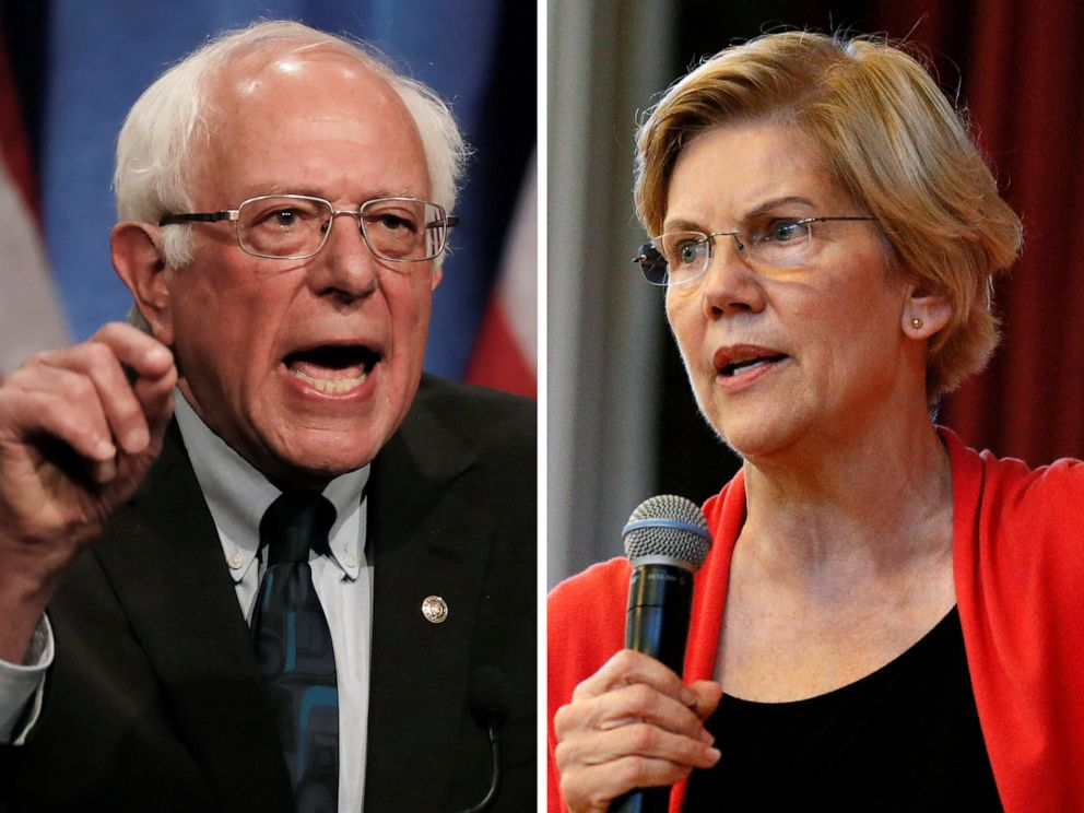 PHOTO: Democratic 2020 U.S. presidential candidates Sen. Bernie Sanders and Sen. Elizabeth Warren speak at campaign events in 2019.