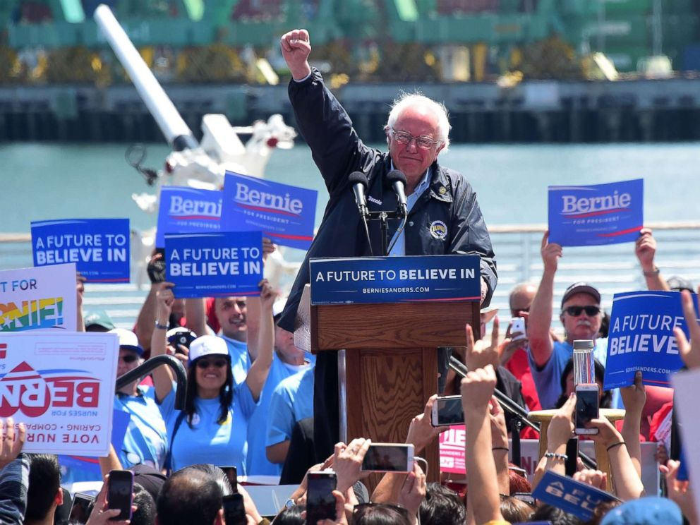 PHOTO: Democratic Party candidate Bernie Sanders speaks to supporters, May 27, 2016, in Los Angeles.