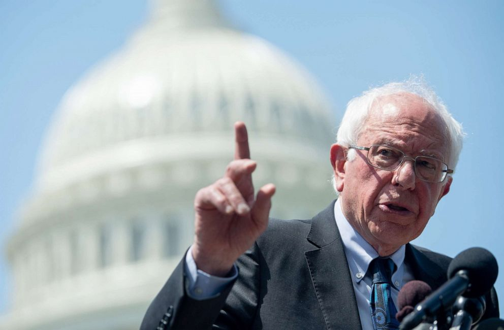 PHOTO: Senator Bernie Sanders speaks during a press conference to introduce college affordability legislation outside the US Capitol in Washington, DC, June 24, 2019.