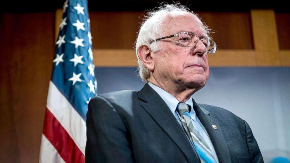 Senator Bernie Sanders speaks during a press conference on Capitol Hill in Washington, DC, Jan. 30, 2019.