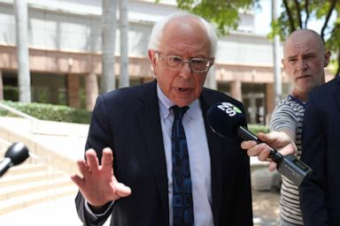 PHOTO: Democratic presidential candidate Sen. Bernie Sanders speaks to the media on June 26, 2019, in Miami.
