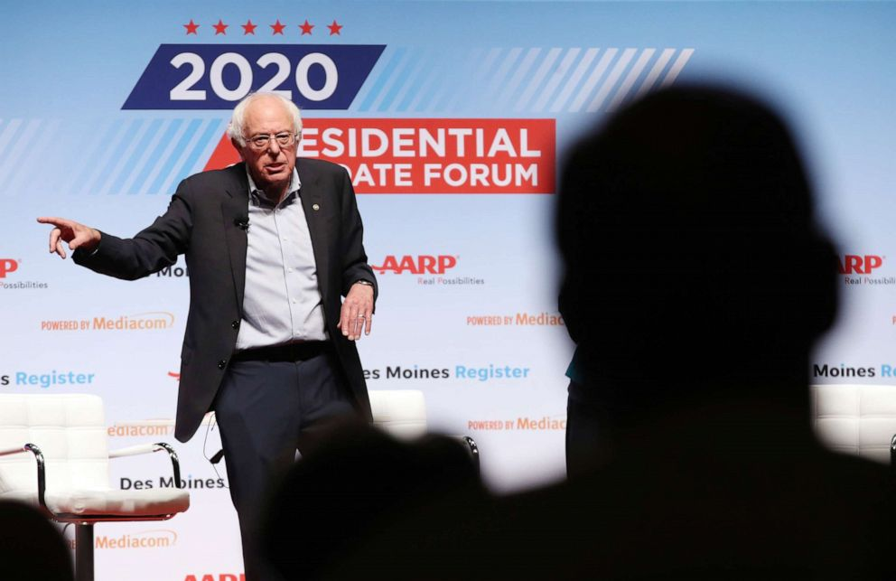 PHOTO: Democratic presidential hopeful U.S. Sen. Bernie Sanders speaks during the AARP and The Des Moines Register Iowa Presidential Candidate Forum on July 20, 2019, in Council Bluffs, Iowa.
