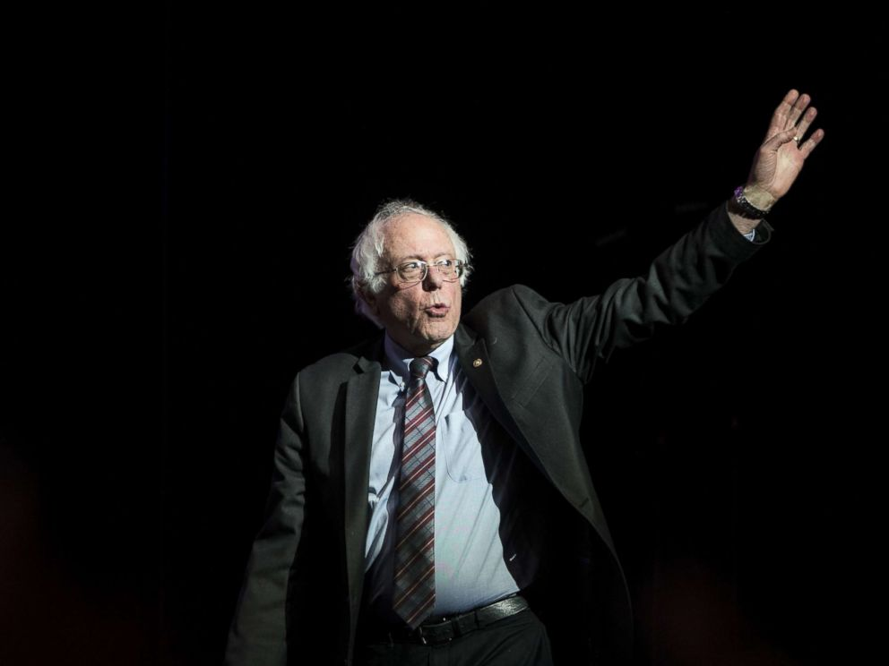 PHOTO: Former Presidential candidate Senator Bernie Sanders waves as he takes the stage at the Our Revolution Massachusetts Rally at the Orpheum Theater, March 31, 2017 in Boston.