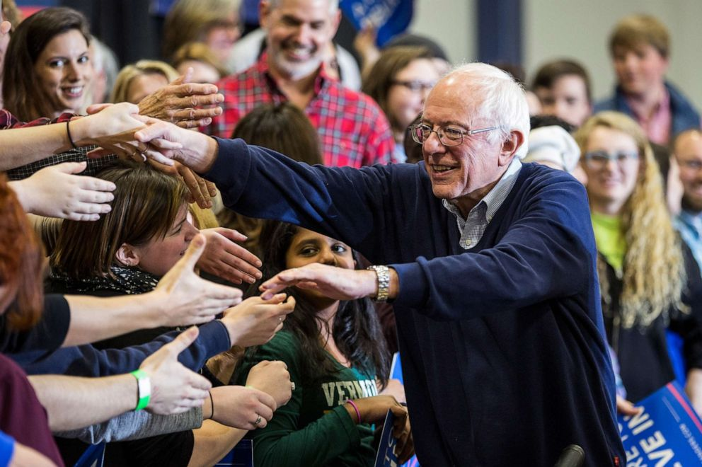 PHOTO: Democratic presidential candidate Sen. Bernie Sanders shakes hands with audience members after speaking at a campaign rally at Great Bay Community College on Feb. 7, 2016, in Portsmouth, New Hampshire.