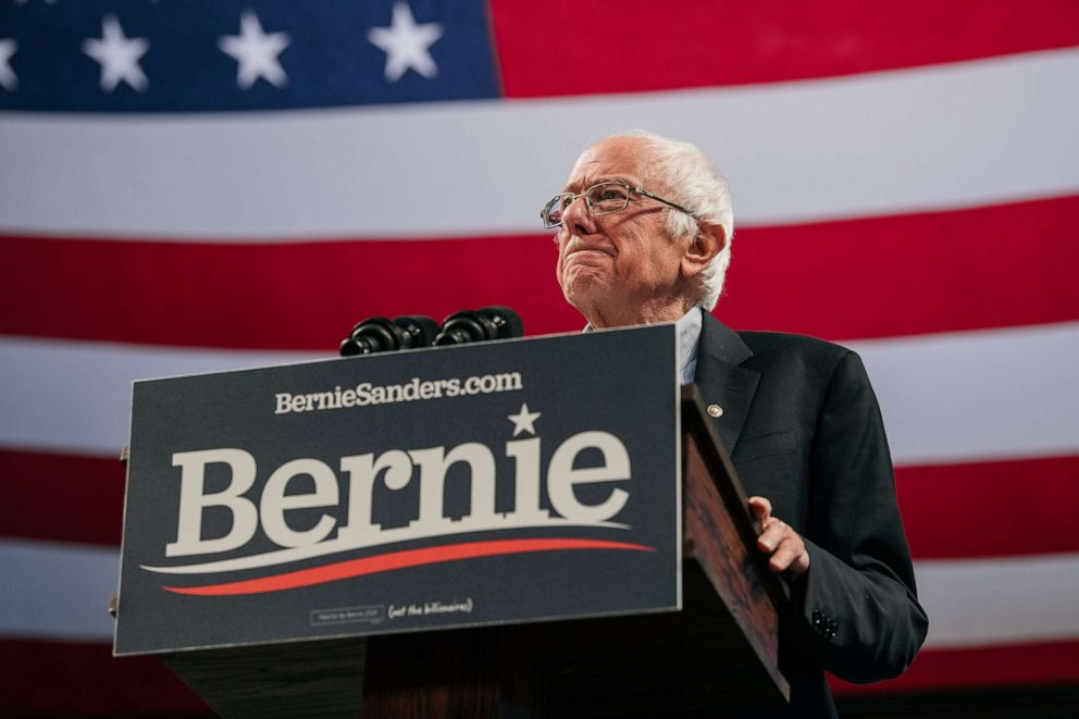 PHOTO: Democratic presidential candidate Sen. Bernie Sanders speaks at a campaign rally at the University of Minnesotas Williams Arena on November, 3, 2019, in Minneapolis, Minn.