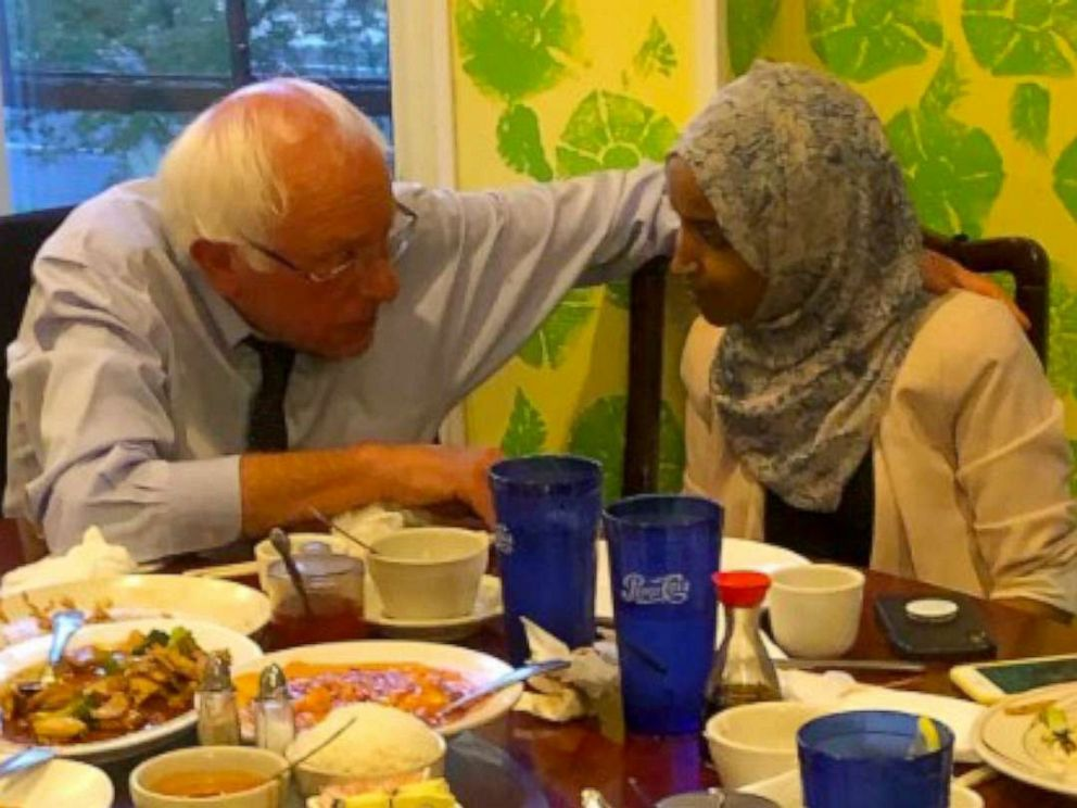 PHOTO: Bernie Sanders and Ilhan Omar have dinner together, July 17, 2019.
