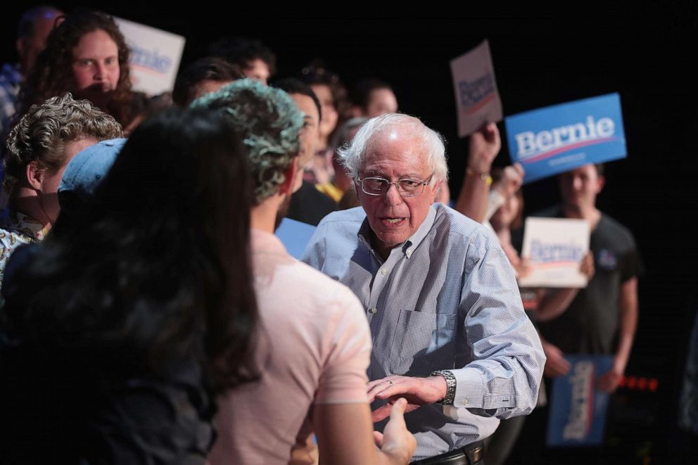 PHOTO: Democratic presidential candidate Senator Bernie Sanders hosts a campaign rally at the Fairfield Arts and Convention Center on April 06, 2019, in Fairfield, Iowa.