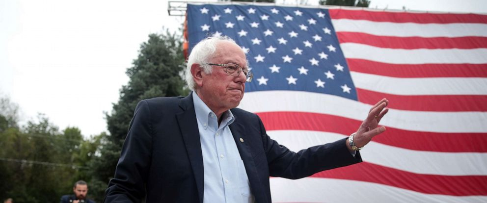PHOTO: Democratic presidential candidate, Sen. Bernie Sanders greets guests at the Polk County Democrats Steak Fry on Sept. 21, 2019, in Des Moines, Iowa.