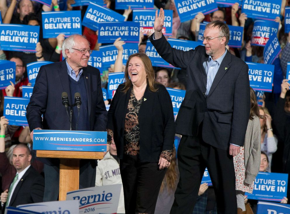 Democratic presidential candidate Sen. Bernie Sanders, I-Vt., his wife Jane Sanders, and his son Levi Sanders arrive to a primary night rally in Essex Junction, Vt., March 1, 2016.