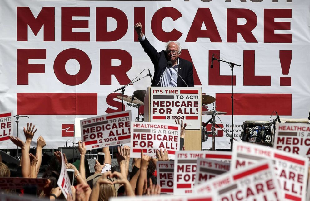 Sen. Bernie Sanders speaks during a health care rally on Sept. 22, 2017 in San Francisco.