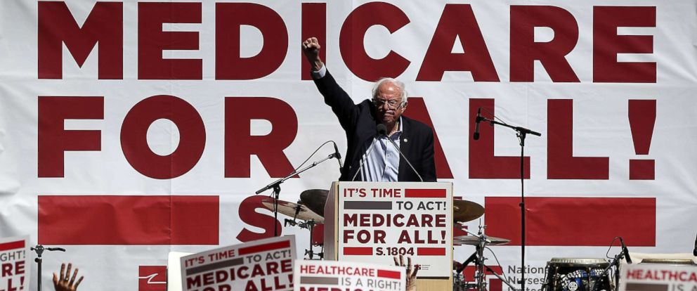 PHOTO: Sen. Bernie Sanders speaks during a health care rally on Sept. 22, 2017 in San Francisco.
