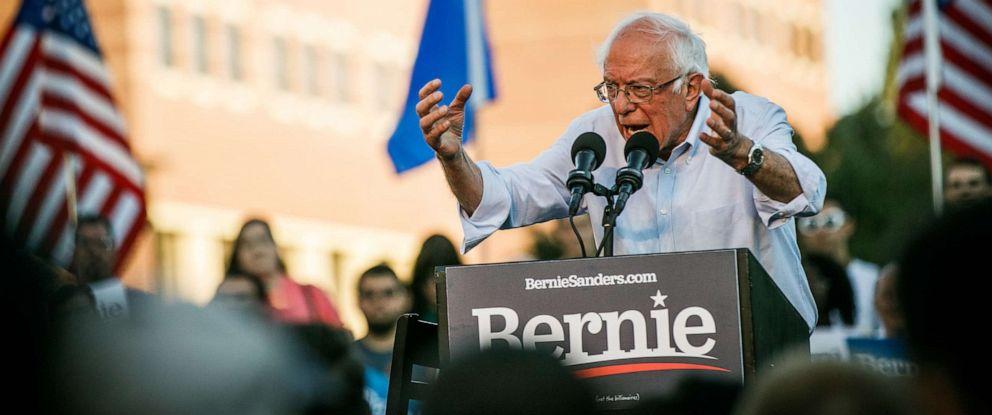 PHOTO: Democratic presidential hopeful Sen. Bernie Sanders (I-Vt.), speaks at a campaign rally at the University of Nevada, Reno, Sept. 13, 2019.