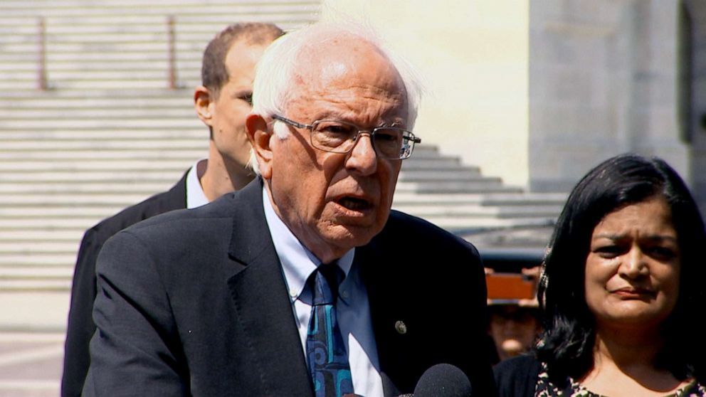 PHOTO: Bernie Sanders speaks at a press conference, June 24, 2019.