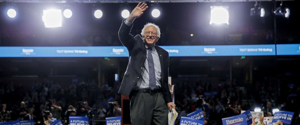 PHOTO: Democratic presidential candidate and Vermont Senator Bernie Sanders waves during a campaign rally in Greenville, S.S., Feb. 21, 2016.