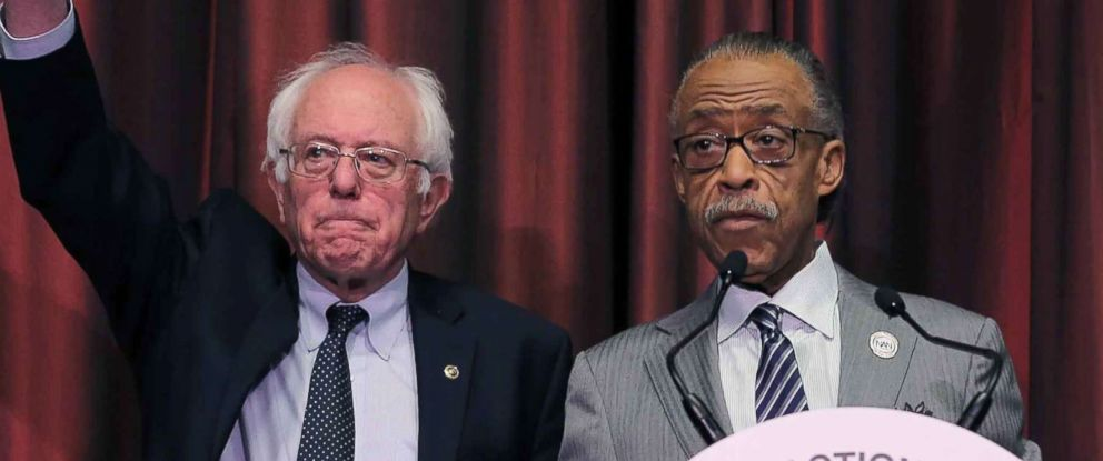 PHOTO: Democratic presidential candidate Senator Bernie Sanders and the Reverend Al Sharpton attend Day 2 of the NAN 25th Anniversary National Convention in New York, April 14, 2016.