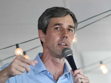 PHOTO: Beto ORourke speaks during a meet-and-greet at Pour Coffeehouse, March 24, 2019, in Las Vegas.