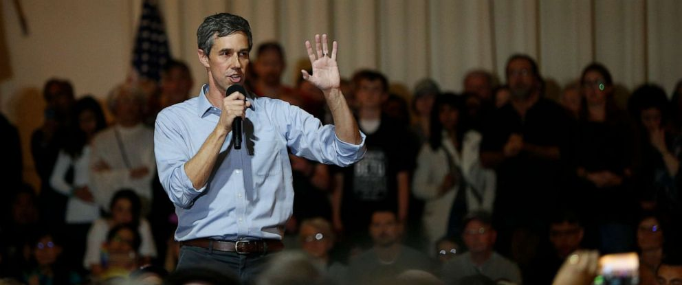 PHOTO: Democratic presidential candidate and former U.S. Rep. Beto ORourke (D-TX) speaks at a campaign town hall, April 28, 2019, in San Francisco.