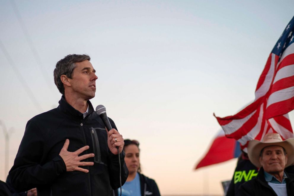 PHOTO: Former Texas Congressman Beto ORourke speaks to a crowd of marchers during the March for Truth in El Paso, Texas, Feb. 11, 2019.