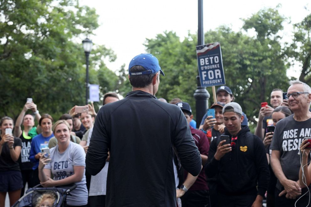 PHOTO: Beto ORourke, former Representative from Texas and 2020 Democratic presidential candidate, speaks to supporters before participating in a Pride Run with LGBTQ members and allies in New York, June 12, 2019.