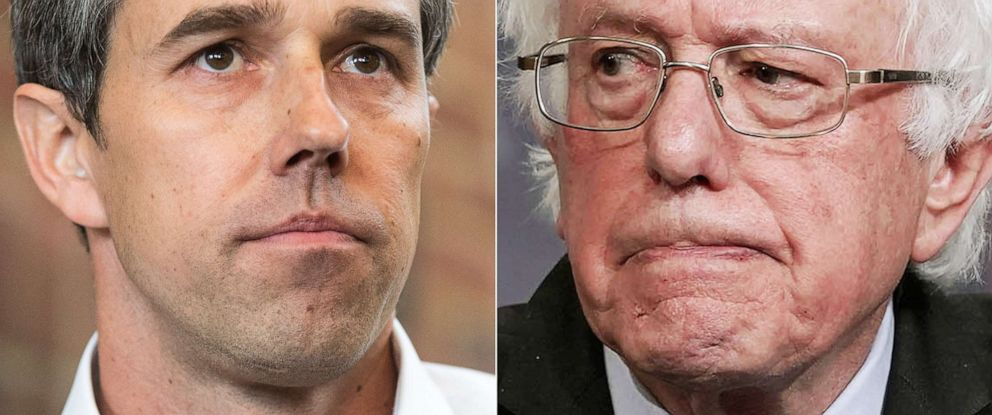 PHOTO: Democratic presidential candidate Beto ORourke looks on during a meet and greet on March 20, 2019, in Plymouth, N.H.| Sen. Bernie Sanders speaks during a news conference on Jan. 10, 2019 at the Capitol in Washington, D.C.