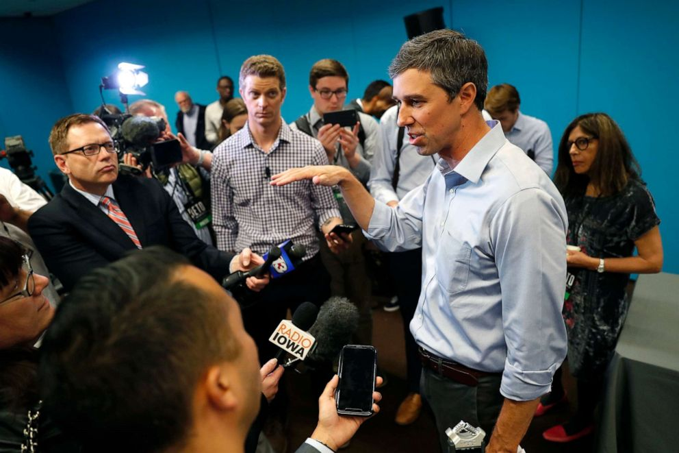 PHOTO: In this May 6, 2019, file photo, presidential candidate Beto ORourke speaks to reporters following a roundtable discussion on climate change in Des Moines, Iowa.