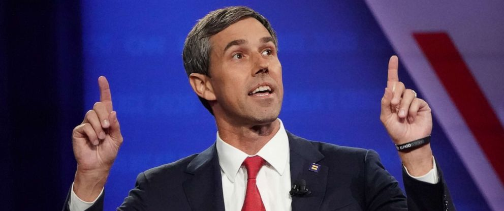 PHOTO: Democratic presidential candidate former Rep. Beto ORourke, D-TX, speaks at the Human Rights Campaign Foundation and CNN presidential town hall focused on LGBTQ issues on Oct. 10, 2019 in Los Angeles, Ca.