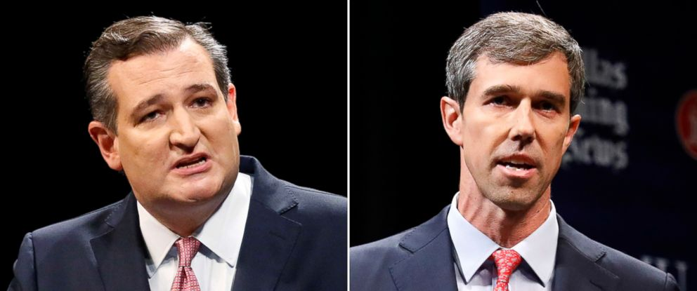 PHOTO: Ted Cruz, left and Beto ORourke are seen in their first debate in Dallas, Sept. 21, 2018.