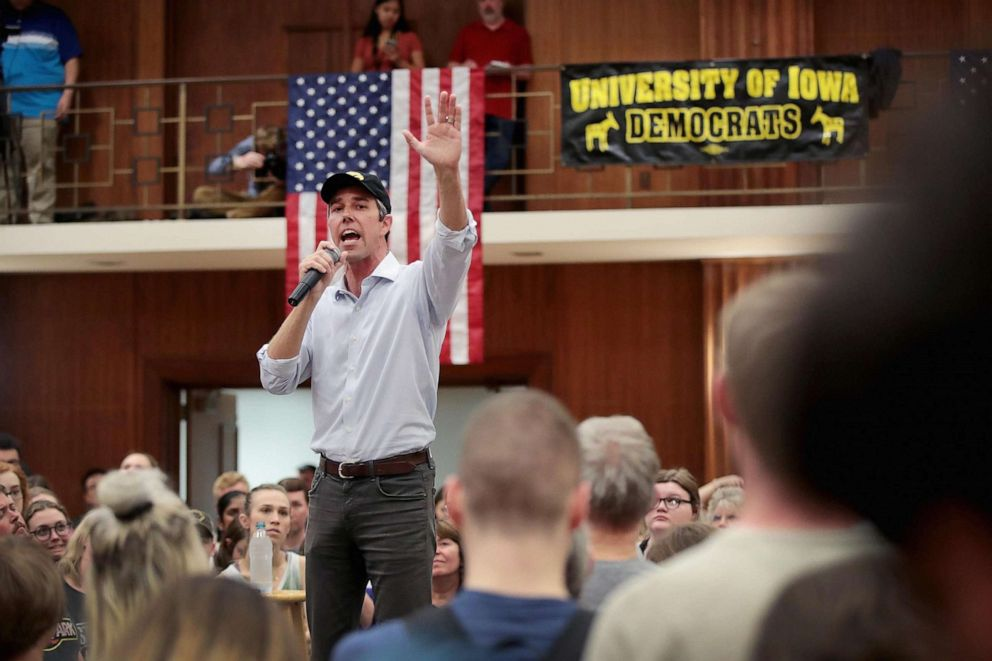 PHOTO: Democratic presidential candidate Beto ORourke speaks during a campaign rally at the University of Iowa, April 7, 2019, in Iowa City, Iowa.