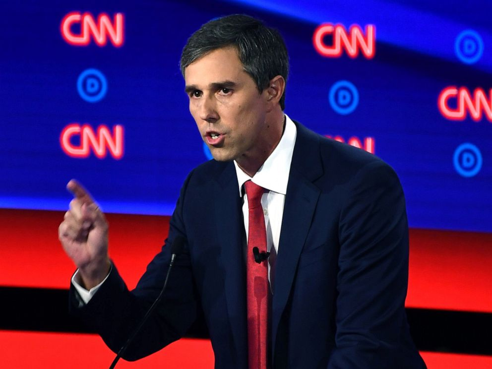 PHOTO: Democratic presidential hopeful former Rep. Beto ORourke delivers his closing statement during the first round of the second Democratic primary debate in Detroit, July 30, 2019.