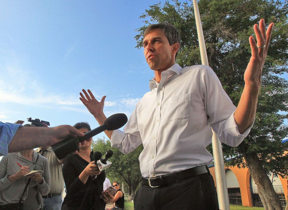 PHOTO: Candidate for U.S. Senate from Texas, Beto ORourke speaks during a news conference at the Hidalgo Memorial Park in Hidalgo, Texas, June 11, 2018.