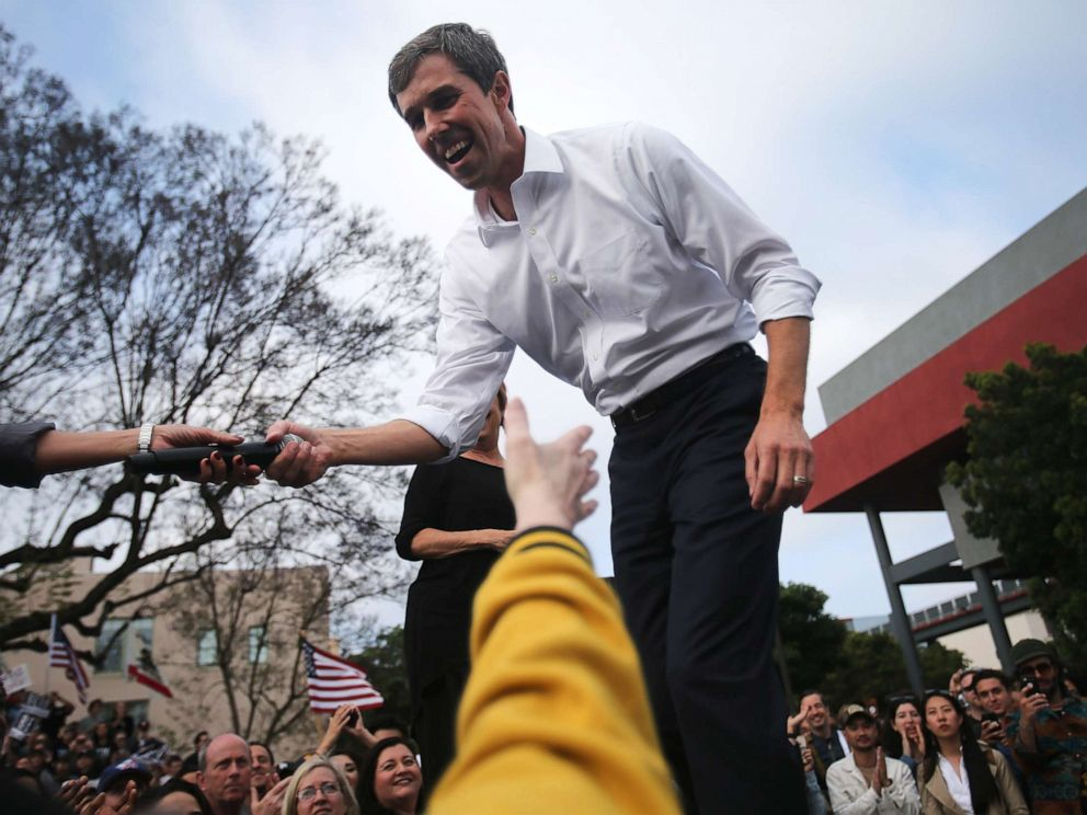 PHOTO: Democratic presidential candidate former Rep. Beto ORourke shakes hands at his first California campaign rally, held at Los Angeles Trade-Technical College, on April 27, 2019, in Los Angeles.