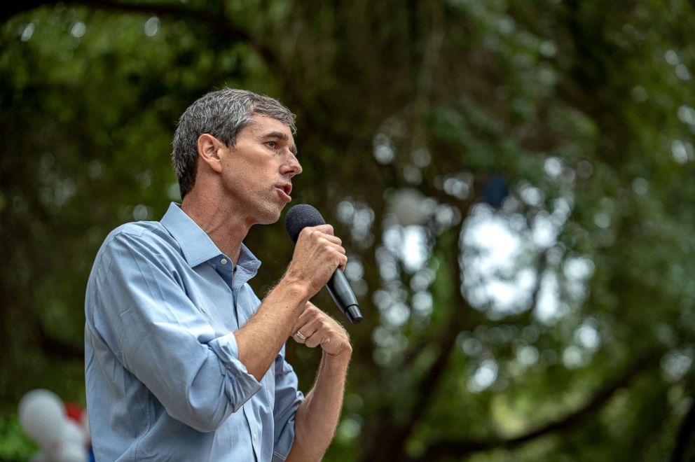 Rep. Beto O'Rourke gives a speech to supporters at an event in Del Rio, Texas, Sept. 22, 2018.