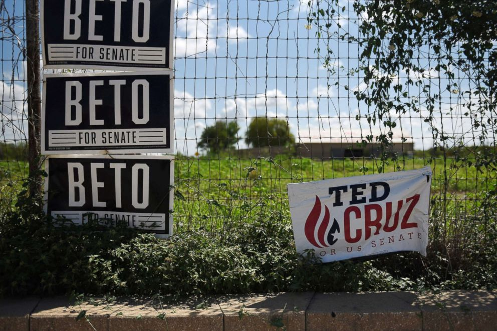 Ted Cruz and Beto O'Rourke election signs are seen near downtown Carizzo Springs, Texas, Sept. 5, 2018.