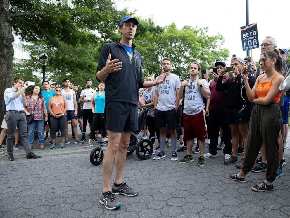 PHOTO: Democratic presidential candidate Beto ORourke talks to members and friends of the LGBTQ community before participating in a 2-mile run, June 12, 2019 in New York.