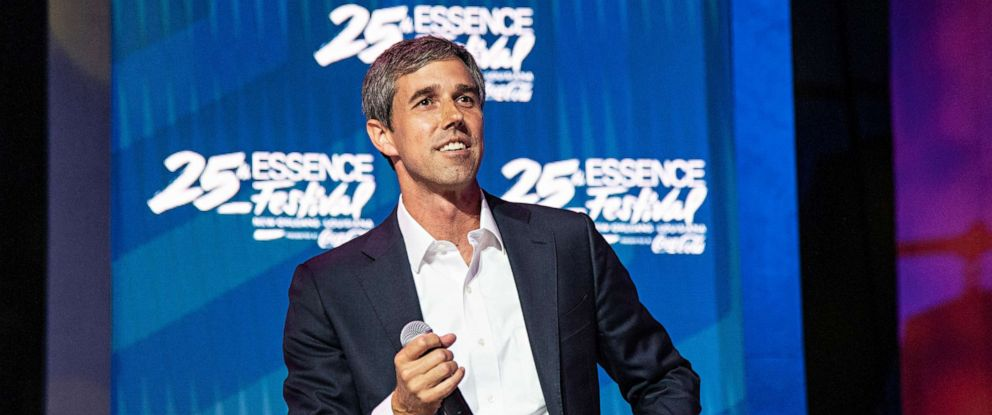 PHOTO: Democratic presidential candidate and former U.S. Rep Beto ORourke speaks at the 2019 Essence Festival at the Ernest N. Morial Convention Center, July 6, 2019, in New Orleans.