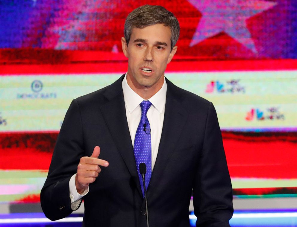 PHOTO: Democratic presidential candidate former Texas Rep. Beto ORourke gestures during a Democratic primary debate hosted by NBC News at the Adrienne Arsht Center for the Performing Arts, June 26, 2019, in Miami.