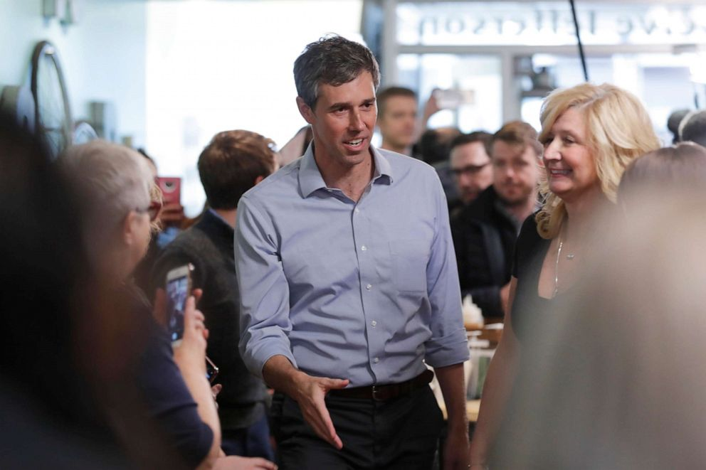 PHOTO: Former Texas congressman Beto ORourke greets employees before speaking at a meet and greet at the Beancounter Coffeehouse & Drinkery, March 14, 2019, in Burlington, Iowa.