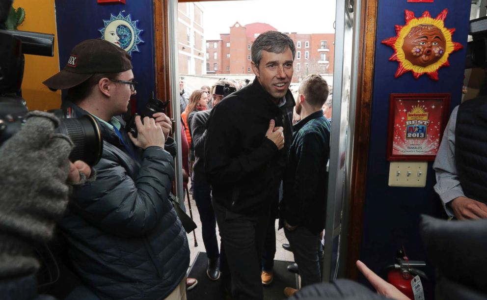 PHOTO: Former Texas congressman Beto ORourke arrives for a campaign stop at a restaurant in Manchester, N.H., March 21, 2019.