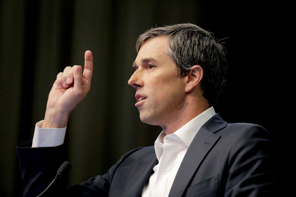 PHOTO: Democratic presidential candidate and former Texas congressman Beto ORourke speaks during the National Action Network Convention in New York, April 3, 2019.