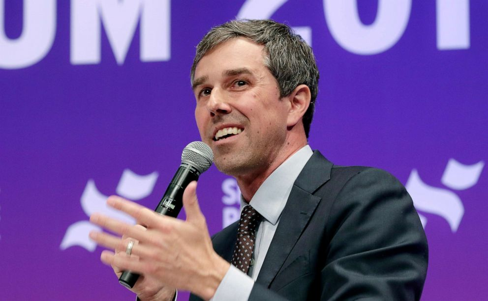 PHOTO: Former congressman and Democratic presidential candidate Beto ORourke answers questions during a presidential forum held by She The People on the Texas State University campus, April 24, 2019, in Houston.