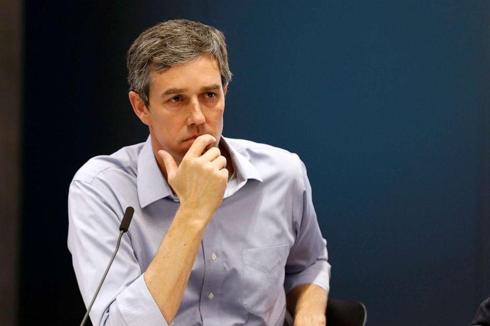 PHOTO: Democratic presidential candidate and former Texas Congressman Beto ORourke listens to a speaker during a roundtable discussion on climate change, May 6, 2019, in Des Moines, Iowa.